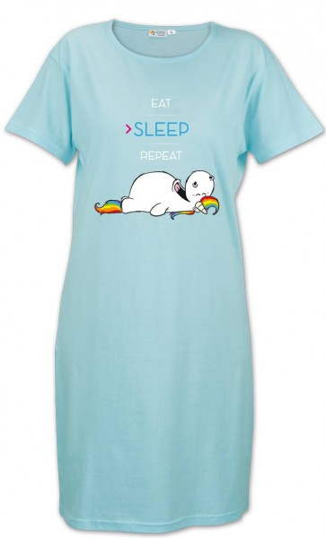 Pummeleinhorn Damen Schlafshirt - Eat, sleep, repeat (türkis)