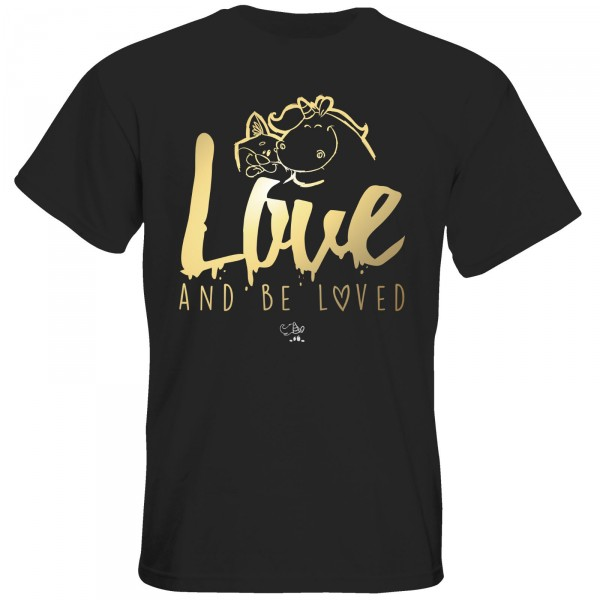 T-Shirt - love and be loved (schwarz/gold)