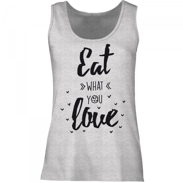 Tanktop Ladyfit - eat what you love (graumeliert)