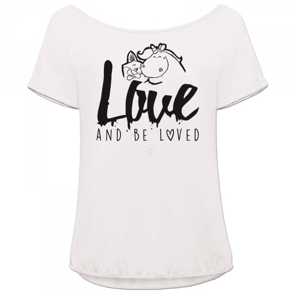 Pummeleinhorn T-Shirt Orchid - love and be loved (weiß)